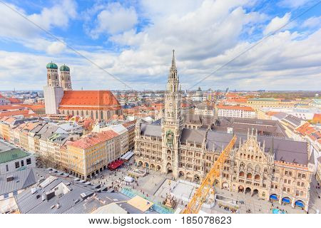 Aerial View of Munich old town Germany around Marienplatz Neues Rathaus and Frauenkirche from St. Peter's church. Munich Germany