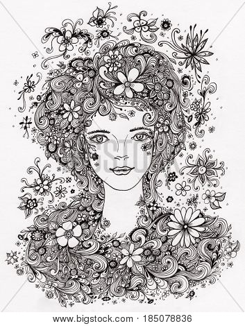 Beautiful Girl with flowers in hair  Authentic handmade graphic  Zen-doodle style for coloring page