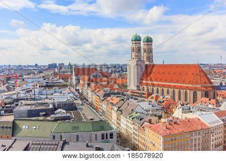 Aerial View of Munich old town Germany around Marienplatz and Frauenkirche from St. Peter's church. Munich Germany