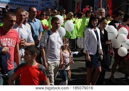Kursk, Russia - May 1, 2017: exhibition dedicated to the world holiday of labor and spring.