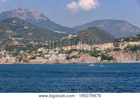 Vietri Sul Mare town seen from the sea Campania Italy