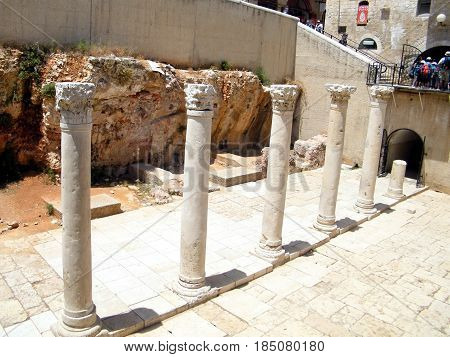 The ancient Roman`s columns in Jewish quarter of Old Jerusalem Israel