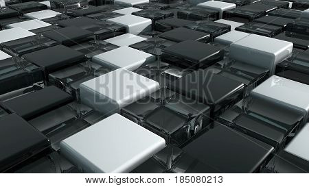 Movement of cubes. Futuristic background with black, white and glass cubes. Cubes with reflection. Seamless loop