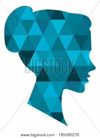 Low poly abstract portrait woman vector art