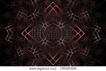 Image of an abstract ornament in the form of a square with an orange outline and small squares on each other in a large number forming a pattern of dark pink color.