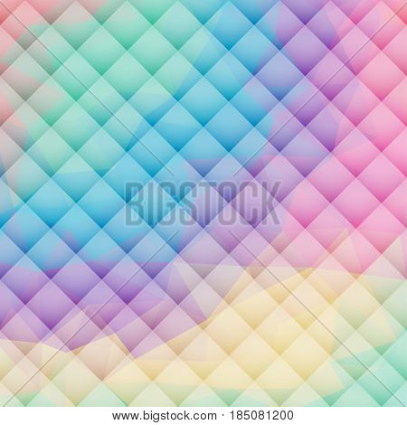 Padded upholstery vector pattern texture. Triangles in pastel colors. Volumetric geometrical texture.
