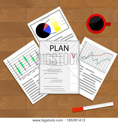 Economic planning checklist. Business plan planning process schedule and strategic planning. Vector illustration