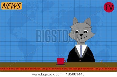 TV news presenter wolf. Breaking news and tv show news reporter. Vector illustration