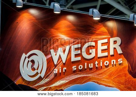 Moscow, Russia - April, 2017: Logo sign of Weger company. Weger is a leader in the market of air handling units