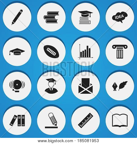 Set Of 16 Editable Graduation Icons. Includes Symbols Such As Ring, Library, Pillar And More. Can Be Used For Web, Mobile, UI And Infographic Design.