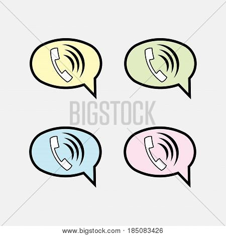 icon message chat support network, handset, fully editable vector image