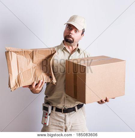 Messenger holding normal and broken parcels, white background