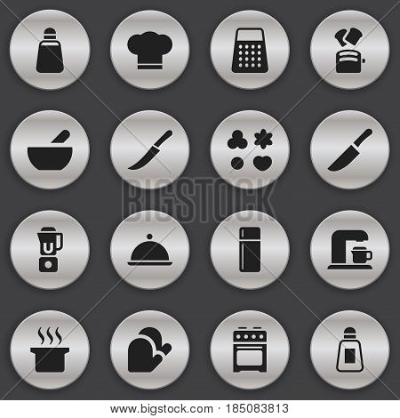 Set Of 16 Editable Food Icons. Includes Symbols Such As Saltshaker, Sword, Salver And More. Can Be Used For Web, Mobile, UI And Infographic Design.