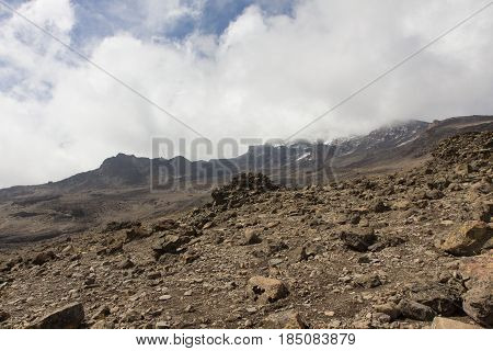 Track on Kilimanjaro to highest peak on the Machame Route Whiskey. 5 day on the way