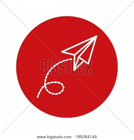 envelope icon over red circle and white background. vector illustration