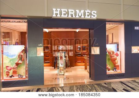 SINGAPORE - CIRCA SEPTEMBER, 2016: Hermes store at Singapore Changi Airport. Changi Airport is one of the largest transportation hubs in Southeast Asia.