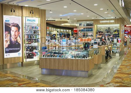 SINGAPORE - CIRCA SEPTEMBER, 2016: an electronics store at Singapore Changi Airport. Changi Airport is one of the largest transportation hubs in Southeast Asia.