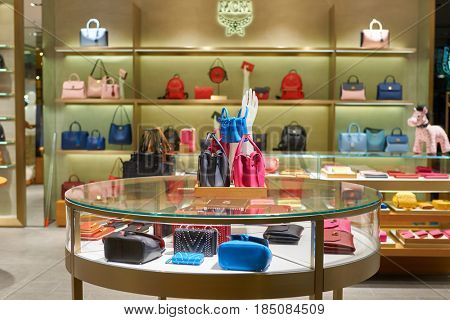SINGAPORE - CIRCA SEPTEMBER, 2016: goods on display at a store in Singapore Changi Airport. Changi Airport is one of the largest transportation hubs in Southeast Asia.