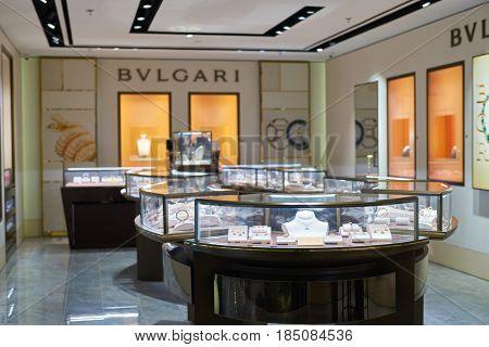 SINGAPORE - CIRCA SEPTEMBER, 2016: Bulgari store at Singapore Changi Airport. Changi Airport is one of the largest transportation hubs in Southeast Asia.