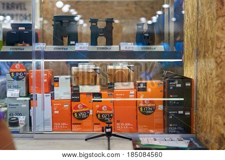 SINGAPORE - CIRCA SEPTEMBER, 2016: Sony lens on display at a store at Singapore Changi Airport. Changi Airport is one of the largest transportation hubs in Southeast Asia.