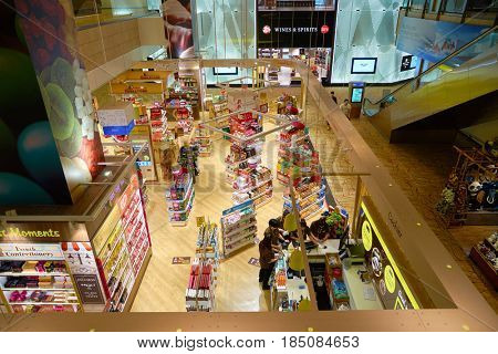 SINGAPORE - CIRCA AUGUST, 2016: a store at Singapore Changi Airport. Changi Airport is one of the largest transportation hubs in Southeast Asia.