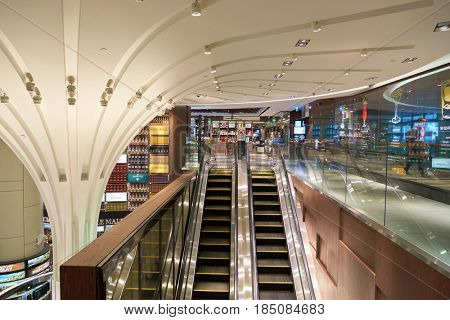 SINGAPORE - CIRCA AUGUST, 2016: Wines and Spirits Duplex store at Singapore Changi Airport. Changi Airport is one of the largest transportation hubs in Southeast Asia.