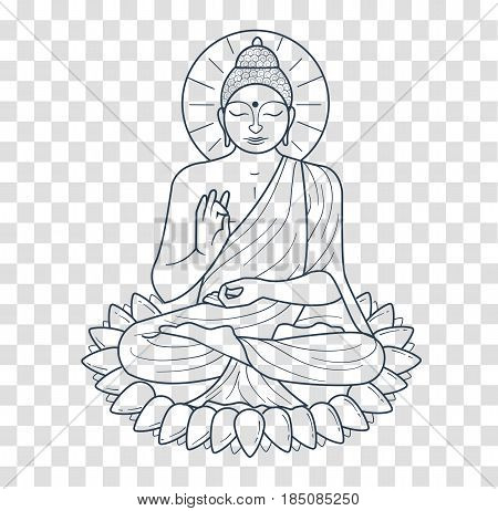 Icon - buddha purnima. Icon silhouette in the linear style