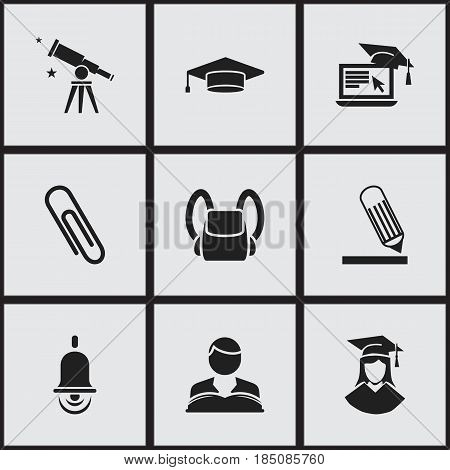 Set Of 9 Editable University Icons. Includes Symbols Such As Studying Boy, Alarm Bell, Graduate And More. Can Be Used For Web, Mobile, UI And Infographic Design.