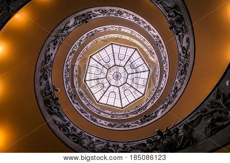 Vatican City, Vatican - April 1, 2017: Spiral stairs of the Vatican Museum