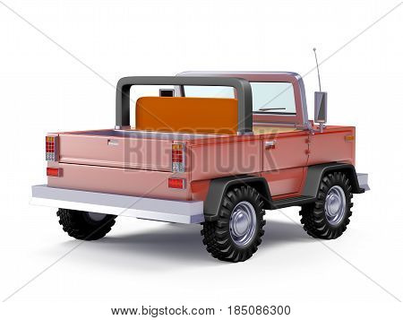 Red safari suv back view in retro cartoon style isolated on white. 3d illustration.