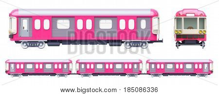 subway train front and side view in retro style isolated on white. 3d illustration
