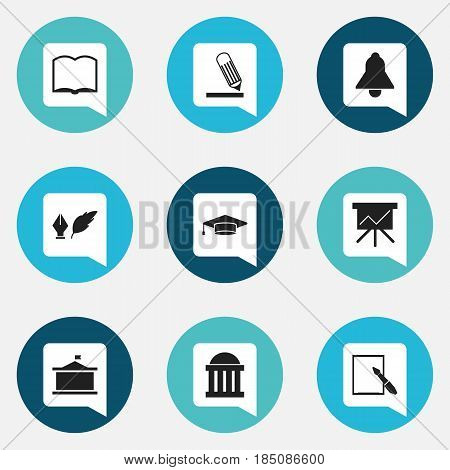 Set Of 9 Editable School Icons. Includes Symbols Such As Courtroom, Univercity, Bell And More. Can Be Used For Web, Mobile, UI And Infographic Design.