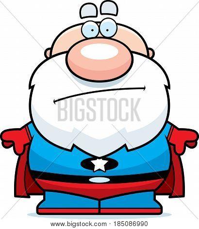 Cartoon Superhero Grandpa Bored
