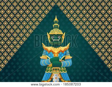 thai art giant Thai Temple Guardian Giant vector illustration