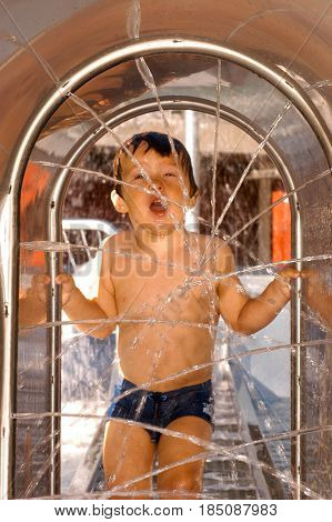 Two Years Old Boy At A Waterpark