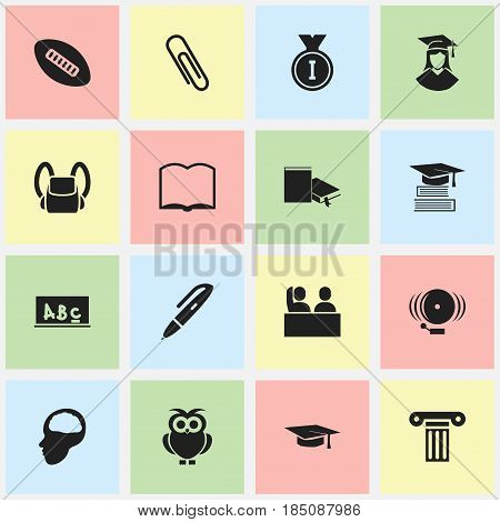 Set Of 16 Editable University Icons. Includes Symbols Such As Bookmark, Oval Ball, Cerebrum And More. Can Be Used For Web, Mobile, UI And Infographic Design.
