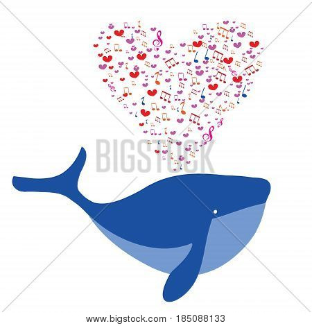 Love the blue humpback whale. Vector illustration concept of love pattern for Valentines day.