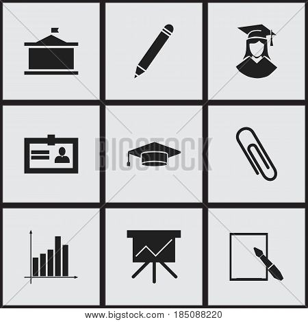 Set Of 9 Editable University Icons. Includes Symbols Such As Certification, Graduate, Notepaper And More. Can Be Used For Web, Mobile, UI And Infographic Design.