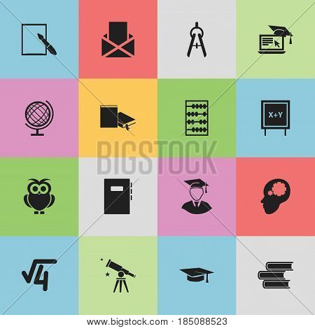 Set Of 16 Editable Education Icons. Includes Symbols Such As Night Fowl, Envelope, Earth Planet And More. Can Be Used For Web, Mobile, UI And Infographic Design.