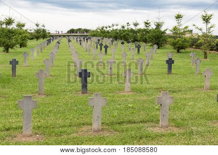 VERDUN FRANCE - AUGUST 19 2016: German cemetery near Romagne-sous-Faucon for First World War One soldiers who died at Battle of Verdun