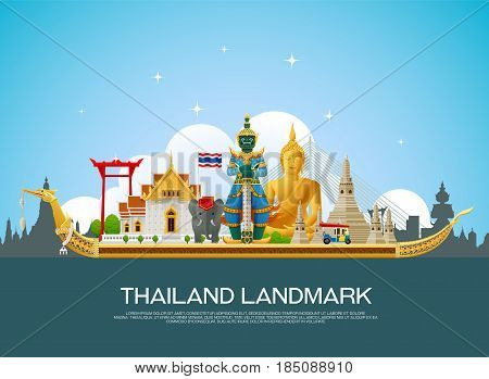 thailand landmark art travel places vector illustration