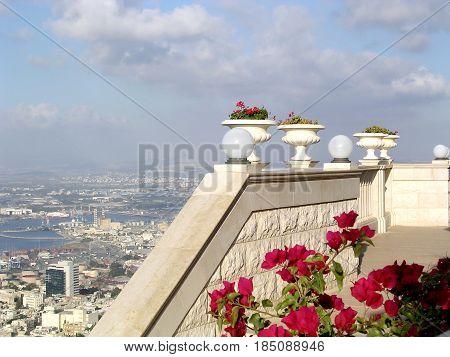 Urban landscape from Bahai Gardens in Haifa Israel