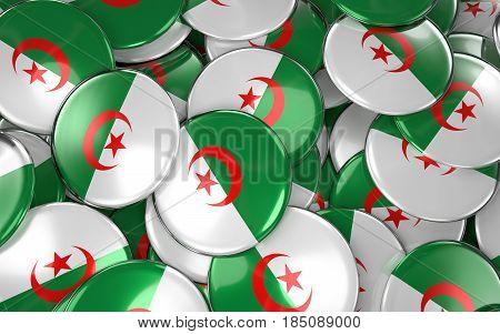 Algeria Badges Background - Pile Of Algerian Flag Buttons.