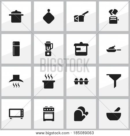 Set Of 16 Editable Meal Icons. Includes Symbols Such As Soup Pot, Slice Bread, Grill And More. Can Be Used For Web, Mobile, UI And Infographic Design.
