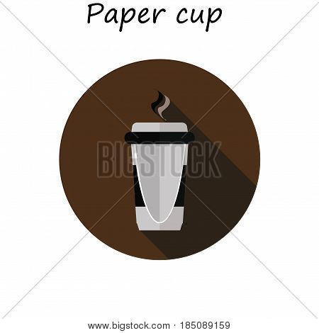 Espresso paper cup. Disposable coffee cup icon with coffee beans logo, Vector illustration flat design with long shadow.