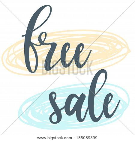 Free, Sale. Handwritten Lettering And Hand Drawn Shapes Isolated On White.