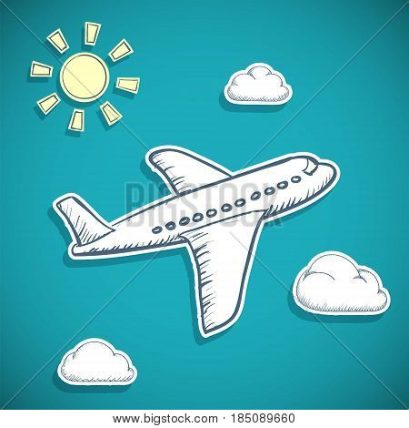 Airplane is flying in the clouds. Passenger air transportation. Doodle image in style scrapbooking. Stock vector flat graphic illustration.