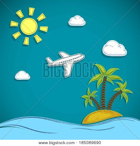 Airplane is flying in the clouds. Island with sand and palm trees. Vacation at the sea with the beach. Stock Vector flat graphic illustration.