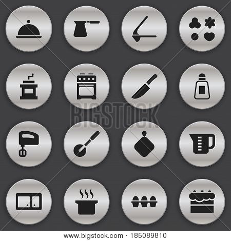 Set Of 16 Editable Cooking Icons. Includes Symbols Such As Coffee Pot, Crusher, Knife Roller And More. Can Be Used For Web, Mobile, UI And Infographic Design.