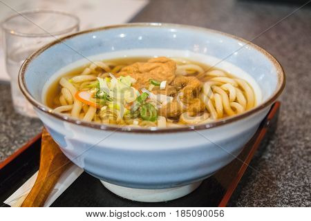 udon noodles with tofu ready to eat